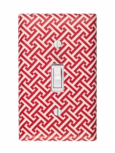 Red Greek Key Light Switch Plate Cover