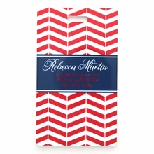 Red Modern Chevron Personalized Luggage Tag Set