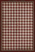 Red on White Houndstooth Vinyl Floorcloth