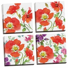 Red Poppies I, II, III, IV Canvas Wall Art Set
