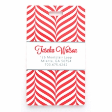 Red Zebra Herringbone Personalized Luggage Tag Set