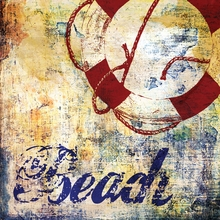 Retro Beach Sign II Canvas Wall Art