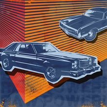 Retro Ride 2 Blue Cars Poster Wall Decal