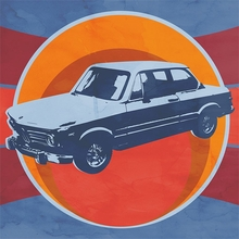Retro Ride Blue Car Canvas Wall Art