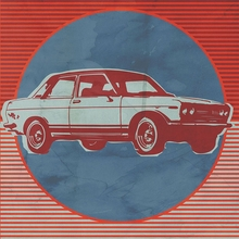 Retro Ride Blue & Red Cars Canvas Wall Art