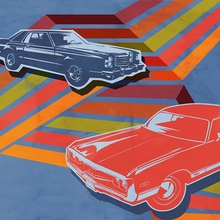 Retro Ride Red Car Poster Wall Decal