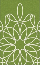 Ribbon Area Rug in Green and White