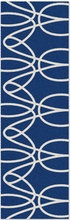 Ribbon Runner Rug in Blue and White