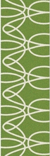 Ribbon Runner Rug in Green and White