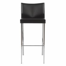 Riley Bar Chair in Black Leather and Chrome - Set of 2
