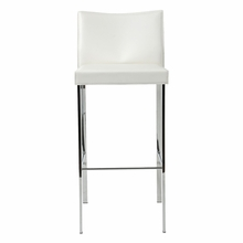Riley Bar Chair in White Leather and Chrome - Set of 2