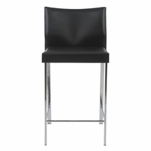 Riley Counter Chair in Black Leather and Chrome - Set of 2