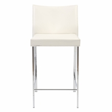 Riley Counter Chair in White Leather and Chrome - Set of 2