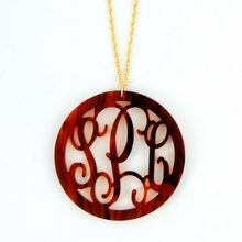 Rimmed Circle Acrylic Monogram Necklace