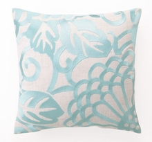 Robin's Egg Chrysanthemum Linen Embroidered Pillow