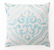 Robin's Egg Tile Linen Embroidered Pillow