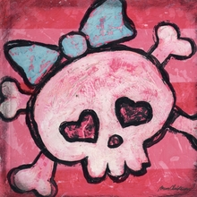 Rock and Roll Girl Skull Canvas Wall Art