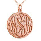 Rose Gold Engraved Monogram Necklace - Script
