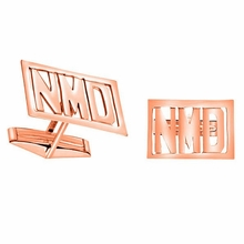 Rose Gold Monogram Cuff Links - Block