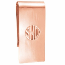 Rose Gold Monogram Money Clip - Block
