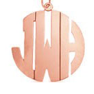 Rose Gold Monogram Necklace - Block