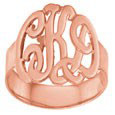 Rose Gold Monogram Ring - Script