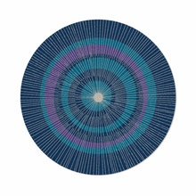 Round Eccentric Rug in Blue and Purple