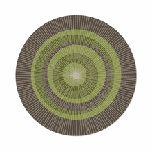 Round Eccentric Rug in Green and Sable
