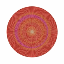Round Eccentric Rug in Orange and Red