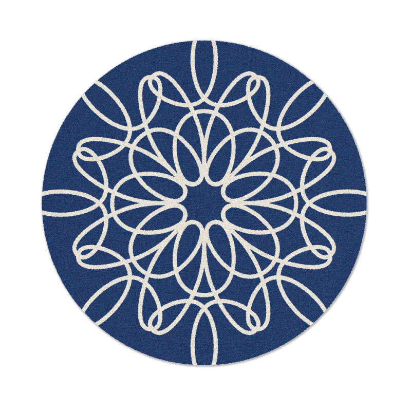 Round Ribbon Rug In Blue And White
