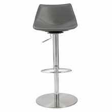 Rudy Adjustable Bar and Counter Stool in Gray and Stainless Steel
