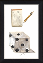 Rummy Scores and Dice Framed Wall Art