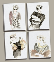 Runway Fashion I, II, III, IV Canvas Wall Art Set