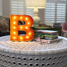 Rusty 12 Inch Letter B Marquee Light