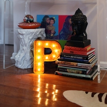 Rusty 12 Inch Letter P Marquee Light