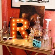 Rusty 12 Inch Letter R Marquee Light