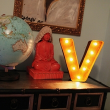 Rusty 12 Inch Letter V Marquee Light