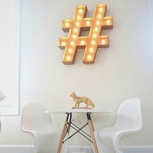 Rusty 24 Inch Hashtag Marquee Light