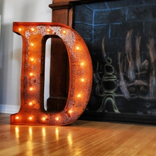Rusty 24 Inch Letter D Marquee Light