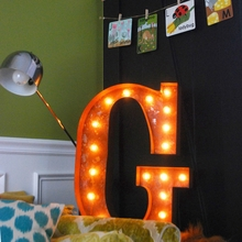 Rusty 24 Inch Letter G Marquee Light