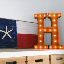 Rusty 24 Inch Letter H Marquee Light