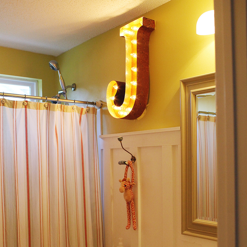 rusty 24 inch letter j marquee light - Marquee Letter Lights