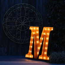 Rusty 24 Inch Letter M Marquee Light