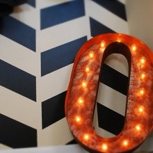 Rusty 24 Inch Letter O Marquee Light