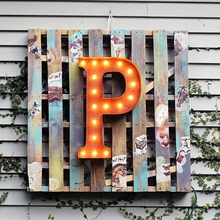 Rusty 24 Inch Letter P Marquee Light