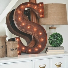 Rusty 24 Inch Letter S Marquee Light