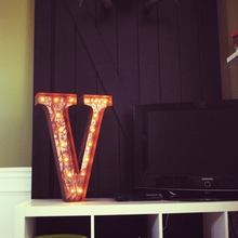 Rusty 24 Inch Letter V Marquee Light