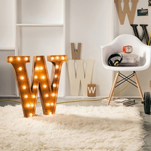 Rusty 24 Inch Letter W Marquee Light