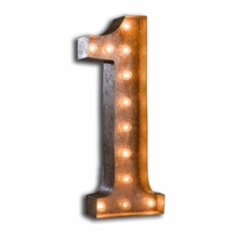 Rusty 24 Inch Number 1 Marquee Light