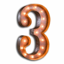 Rusty 24 Inch Number 3 Marquee Light